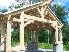 What do you get when you mix a timber frame and a gazebo? Around the turn of the century, architects and brothers, Charles and Henry Greene designed beautiful structures like this gazebo, using cla…