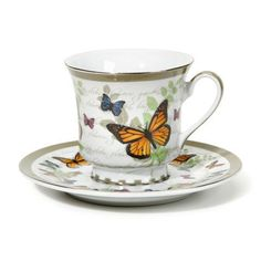 Butterfly Discount Tea Cups (teacups) and Saucers - Case of 48 - Roses And Teacups