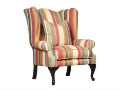 Llewelyn Wingback In Stripe With Ottoman Measurements 870 x 850 x 1150 Ottoman, Furniture, Interior Furniture, Wingback Chair, Sofas, Study Sofas, Chair, Lounge Interiors, Armchair