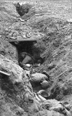 WW1, Battle of the Somme, 1916; German dead in a trench.