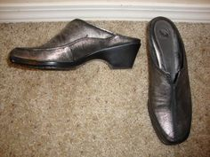 Nurture SUNDAY Metallic Silver Gray Leather Mule Heel Size 7M #Nurture #Mules #clog #heel #secondchance #consignkansas