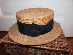 Antique French straw boater hat w silk bow by MyFrenchAntiqueShop b46555f30904