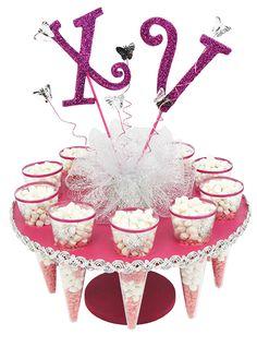 Centro de mesa para fiestas de XV años, Rosa