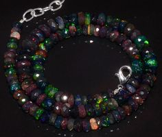 """85CRTS 5to8MM 18"""" BLACK ETHIOPIAN OPAL RONDELLE FACETED BEADS NECKLACE OBI3189 #OPALBEADSINDIA"""