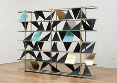 Kevin Appel / Untitled (screen), Powder coated steel, brass plated steel, enamel, 84 x 120 x 12 (interior shapes variable) Room Deviders, Photography Gallery, Brass Jewelry, Contemporary Art, Modern Design, Furniture Design, Plating, Objects, Artsy
