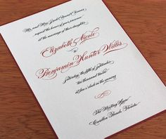 Our Burgues letterpress wedding invitation design gracefully displays ceremony details with the whimsical script font Burgues, setting the t...