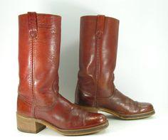 dingo cowboy boots mens 9 D brown campus by vintagecowboyboots