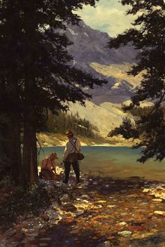 Fly fishing painting by Brett James Smith<br> Outdoor Art, Outdoor Life, Fly Fishing Tips, Great Paintings, Sea Fish, Vintage Fishing, Sports Art, Fish Art, Western Art