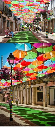 Umbrella Street in Portugal. #travel #travelphotography #travelinspiration