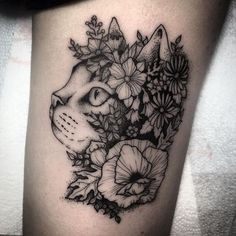 Dot style impressive looking tattoo of cat head with beautiful flowers Head Tattoos, Finger Tattoos, Love Tattoos, Body Art Tattoos, Black Cat Tattoos, Animal Tattoos, Kitty Tattoos, Trendy Tattoos, Tattoos For Women