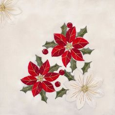 The Holiday Aisle Montagu Holiday Embroidered Table Runner Diy Embroidery Kit, Christmas Embroidery, Embroidery Patterns, Christmas Deco, Christmas Cards, Tropical Quilts, Mini Quilts, Poinsettia, Table Runners