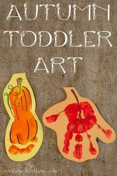 Rootandblossom: Autumn (Toddler Created) Banner - Handprint leaf and footprint s. - Rootandblossom: Autumn (Toddler Created) Banner – Handprint leaf and footprint squash - Daycare Crafts, Baby Crafts, Infant Crafts, Daycare Rooms, Fall Preschool, Preschool Crafts, Kids Crafts, Santa Crafts, Family Crafts