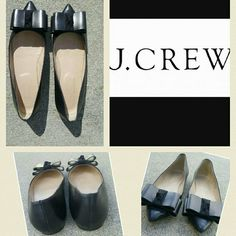 SALE! 1 NIGHT ONLY! J.Crew Viv Leather flats J. CREW Viv Leather flats with bow. These shoes are HOT right now! These are great for the office or a night out on the town! J. Crew Shoes Flats & Loafers