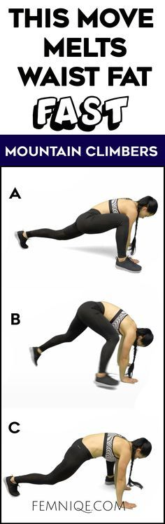 Waist Slimming Workout Mountain Climber Exercise - Try this waist slimming exercise to get a smaller waist and flay belly fast at home!