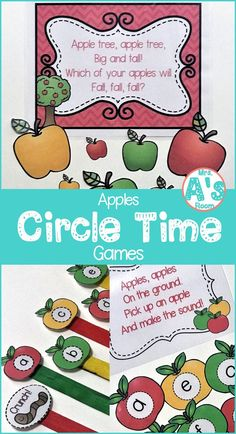 These circle time activities will give you lots of new ideas for your apples theme this fall with your preschool and kindergarten class! Preschool Apple Activities, Preschool Apple Theme, Fall Preschool, Preschool Lessons, Kindergarten Activities, Preschool Apples, Kindergarten Apples, Preschool Ideas, Preschool Learning