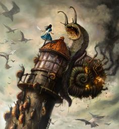Alice Concept Art with Steam-powered Snail