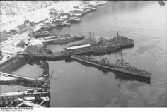 German 1934-class destroyer and other ships in port in Narvik, Norway, 1940