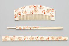 Ouka pattern ivory comb, hairpin-笄 [Edo period below]