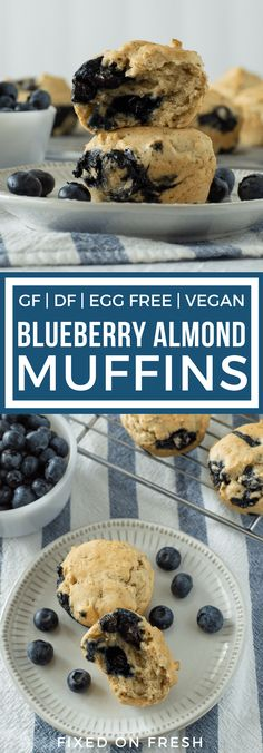 These vegan blueberry almond muffins are gluten free, dairy free, and egg free. These muffins are also low calorie, moist and delicious and made with fresh blueberries.