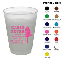 Bachelorette Shatterproof Cups (Clipart 6058) Cabin Fever - Custom Bachelorette Favors - Bachelorette Party Frosted Cups