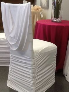 White Ruched Spandex Chair Cover with attached Sash $4.00 - Luxe Decor & Event Rentals