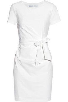 Diane von Furstenberg Zoe gathered stretch-poplin mini dress | NET-A-PORTER, $385