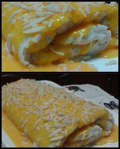 Torta de claras com amêndoa, coberta e recheada com doce de ovos