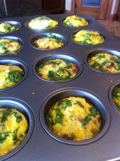 10 eggs, 3.5 cups of fillings, 25 min at 350°  Everything To Be: Crustless Mini Quiche