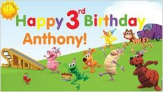 Custom Vinyl PBS Word World Birthday Party Banner Decorations + Child's Name
