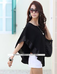 OL Pure Color Batwing Sleeve Asymmetric Hem Top, Shop online for $9.80 Cheap Basic Tops code 698093 - Eastclothes.com