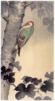 hanga gallery . . . torii gallery: Woodpecker on a Treetrunk by Ohara Koson