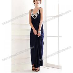 Wholesale Bohemian Style Sequined Scoop Neck High Waist Navy Maxi Dress For Women (NAVY,ONE SIZE), Maxi Dresses - Rosewholesale.com