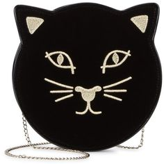 Charlotte Olympia Black Cat Face Velvet Clutch (285 CAD) ❤ liked on Polyvore featuring bags, handbags, clutches, purses, accessories, handbag purse, velvet clutches, embroidered handbags, velvet handbag and chain handle handbags