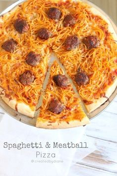 Spaghetti & Meatball Pizza - kids love this stuff ! ~~ Had to pin this as I named my board Pizza & Pasta ~~ carb on carb would never make this but love the pic :)) I Love Food, Good Food, Yummy Food, Pasta Pizza, Spaghetti Pizza, Leftover Spaghetti, Spaghetti Squash, Stoner Food, Meatball Pizza