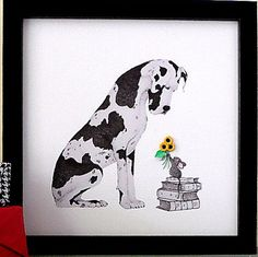 Great Dane Artwork Baby Mouse and 3D Sunflowers by QuillArtuk