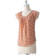 LC Lauren Conrad Polka-Dot Pleated Top ($25) found on Polyvore