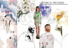 'Work In Progress' moodboard! Portfolio Presentation, Design Competitions, Textile Design, Vignettes, Challenges, Textiles, Creative, Pattern, Anime