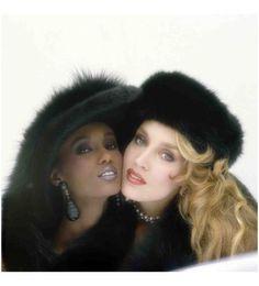 Norman Parkinson - Iman & Jerry Hall wearing black fur. Paris Spring Collections, Vogue 1982