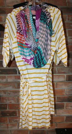 Print mixing with a scarf.