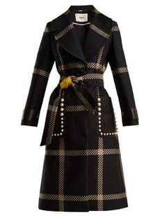 Fendi Notch-lapel Tie-waist Checked Coat In Black White Classy Business Outfits, Classy Outfits, Business Wear, Fendi Coat, Black And White Coat, Cute Coats, Vintage Coat, Coats For Women, Women Wear