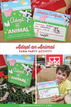 Adopt an Animal fun Farm Party activity for kids! Complete with Adoption Certificate too! #farmparty #partyactivity #kidsparty #farm #adoptananimal #adoptioncertificate #farm #JustAddConfetti #farmanimals #partyideas