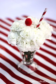 Cute center piece idea for a vintage soda shop - styled party, from Tried and True.