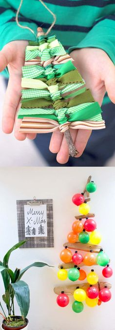 New Trend in Check out the Rainbow Christmas Tree trend! 48 inspiring alternative DIY Christmas Tree ideas using repursposed materials from candy canes, pine cones, to paper and pallets, with great tutorials! Pallet Christmas Tree, Ribbon On Christmas Tree, Christmas Tree Crafts, Christmas Bows, Christmas Tree Decorations, White Christmas, Christmas Ornaments, Crochet Christmas Gifts, Christmas Table Centerpieces