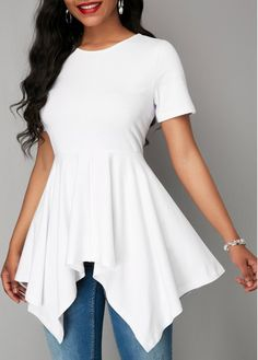 White Short Sleeve Asymmetric Hem Blouse | liligal.com - USD $30.64