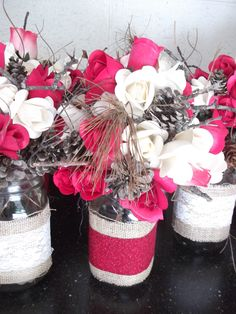 """Patty (MIL) added pine cones and conifer needles to """"spruce"""" the jars up a bit."""
