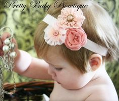 Baby Girl Headband - Baby Infant Toddler Headband - Pink Victorian Flowers on Pale Pink Stretch Headband - Photography Prop Toddler Headbands, Baby Girl Headbands, Orange Pastel, Do It Yourself Baby, Victorian Flowers, Vintage Flowers, Diy Hair Accessories, Pretty Baby, My Baby Girl