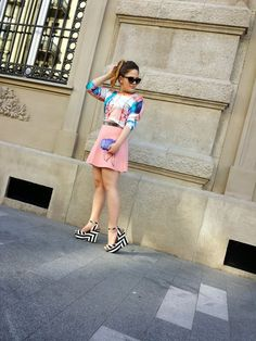 Beehive Fashion by B: Pastel #street #style #fashion #outfit #fashionista #blogger #pastel #colors #babypink #skirt #sunglasses #stripes #wedges