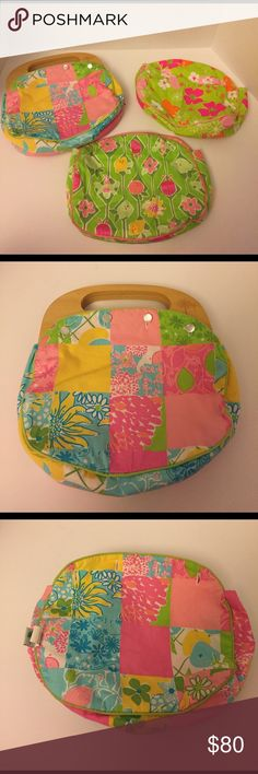 Lilly Pulitzer Bermuda Bag w/3 Reversible Covers Lilly Pulitzer Bermuda Bag.  Comes with 3 Reversible Covers - 6 Purses in 1!  Comes from a pet free/smoke free home.  White under base has some staining around the buttons where the wood stain from the handle stained through.  Other than that - great condition! Lilly Pulitzer Bags Mini Bags