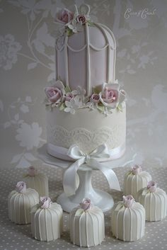 Pretty pink birdcage cake by Cotton and Crumbs, via Flickr