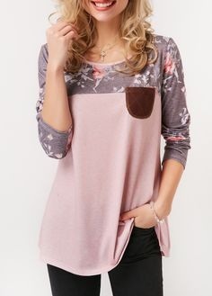 Patchwork Printed Round Neck Button Back T Shirt | Rosewe.com - USD $29.50